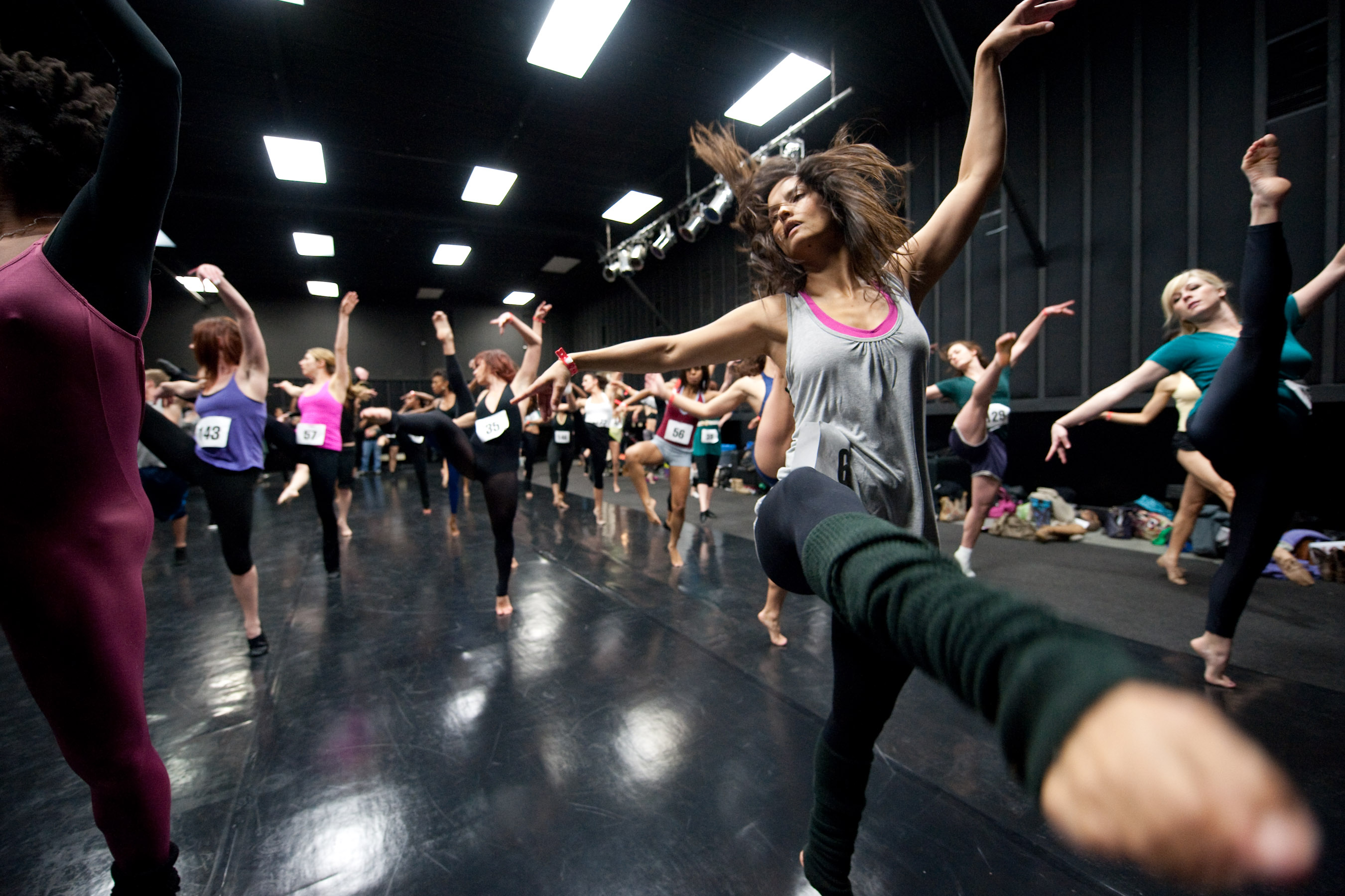 Dancers perform during the open dance auditions for the 82nd Academy Awards telecast at CenterStaging in Burbank, CA on Friday, January 22, 2010.